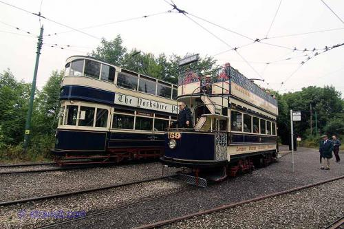 Leeds City Transport # 345 and London United Tramways # 159