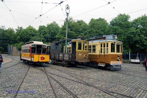 Oporto Trams Lined up on the depot fan